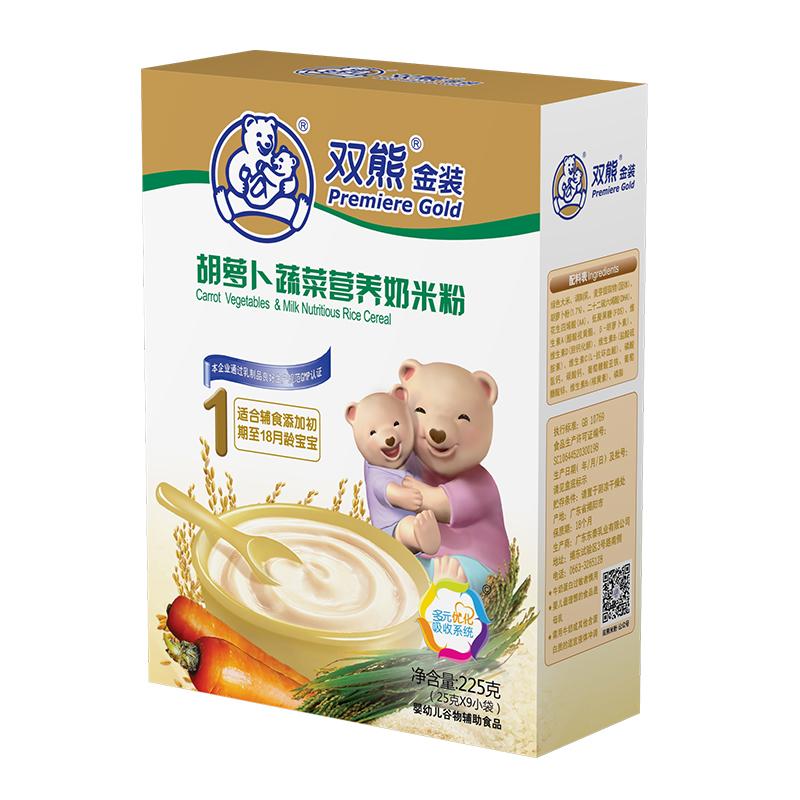 双熊金装胡萝卜蔬菜营养奶米粉盒装225克