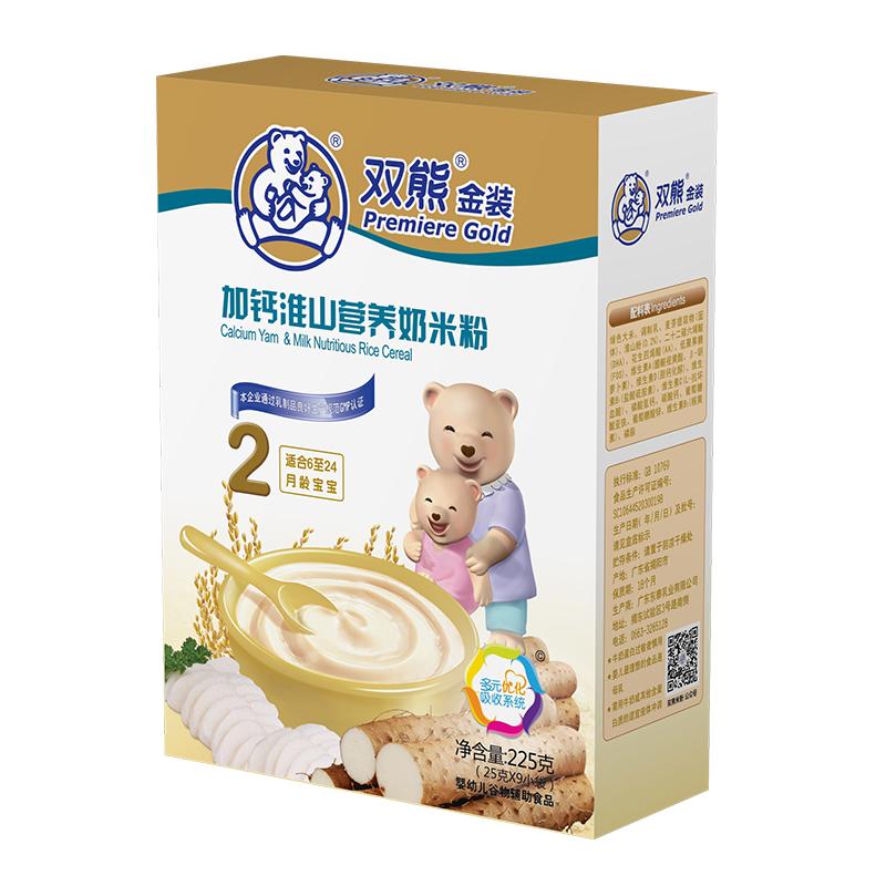 双熊金装加钙淮山营养奶米粉盒装225克