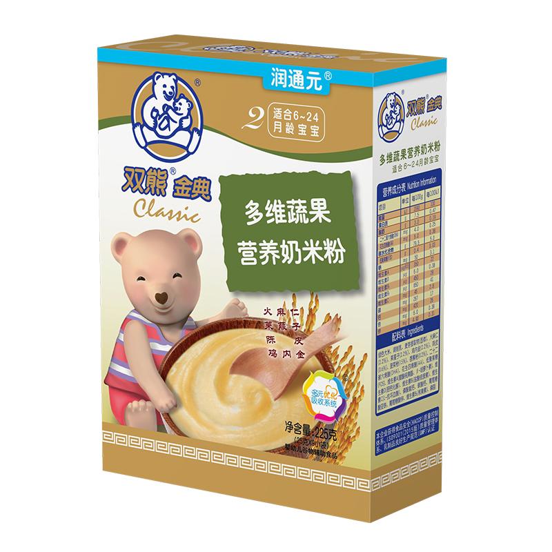金典润通元多维蔬果营养奶米粉盒装225克