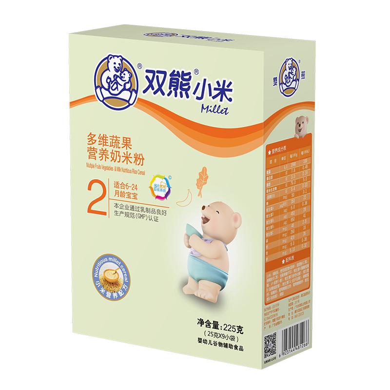 双熊小米多维蔬果营养奶米粉盒装225克