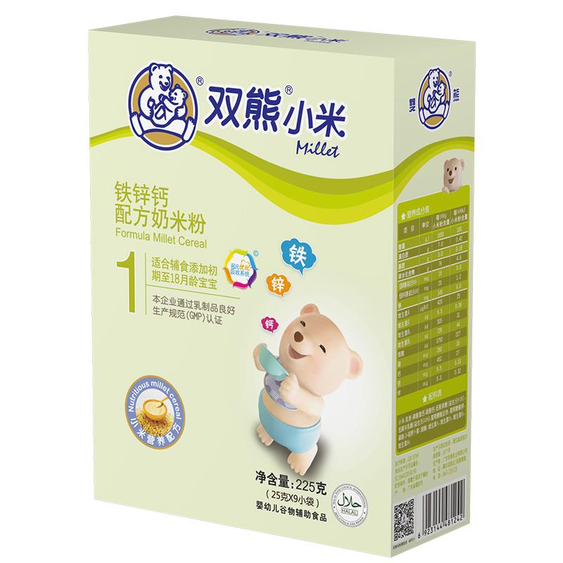 双熊小米铁锌钙配方奶米粉盒装225克