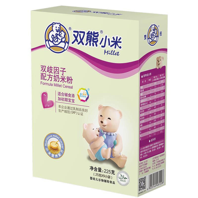 双熊小米双歧因子配方奶米粉盒装225克